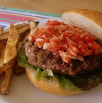 Burgers with Fresh Tomato Relish