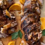 grilled pork tenderloin drizzled with a spicy chipotle sauce