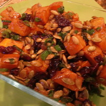 Warm Roasted Sweet Potato Salad with Mango Chutney Dressing