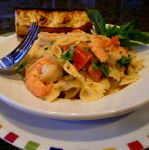 Roasted Tomato and Garlic Shrimp with goat Cheese and Pasta
