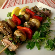 Scallion Garlic Steak and Potato Kebabs
