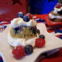 Mini Berry Poppy Seed Cakes with Vanilla Whipped Cream