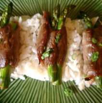 Sweet Soy Glazed Steak Rolls with Asparagus and Scallions