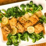 platter of cod francese and broccoli