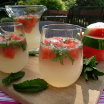 The Sparkling Summer Sipper with Watermelon Ice Cubes
