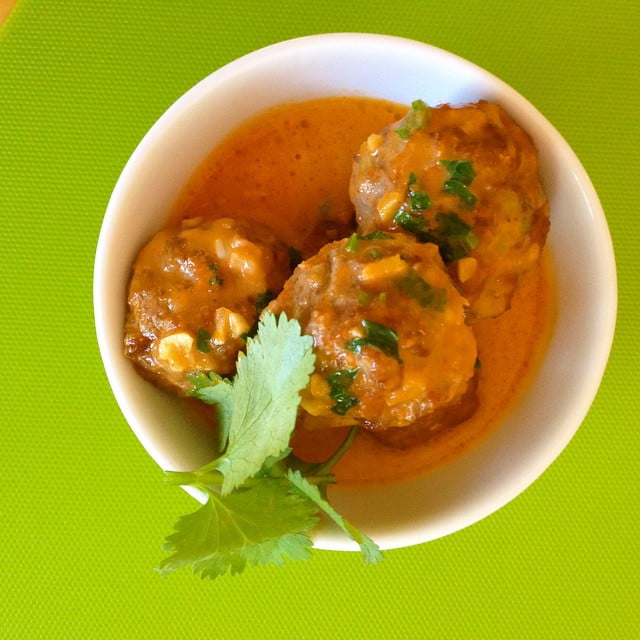 thai meatballs with coconut red curry sauce