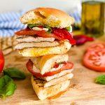stack of chicken mozzarella sandwiches
