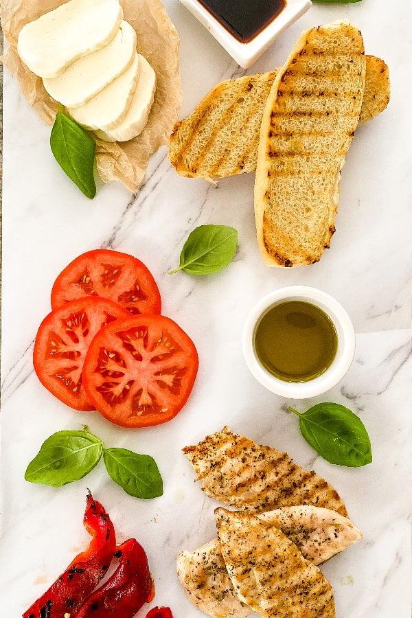 ingredients for a grilled chicken mozzarella sandwich