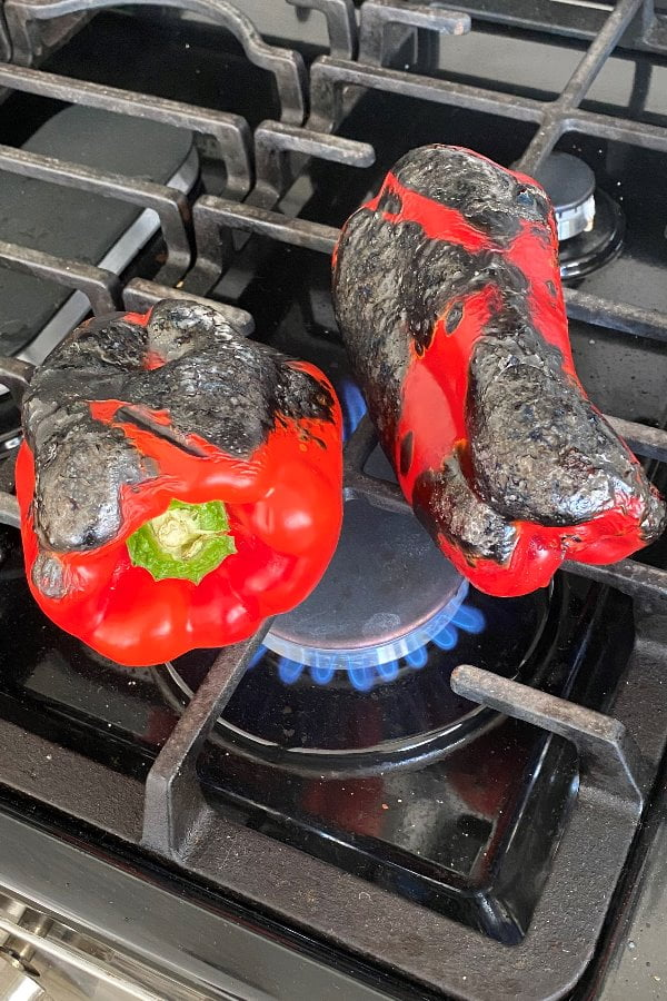 roasting red peppers over on the stove top