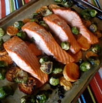 Roasted Maple Salmon with Sweet Potatoes and Brussels Sprouts