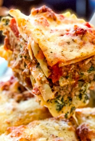 slice of spinach and sausage lasagna