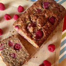 Whole Grain Banana Raspberry Bread with Flax Meal
