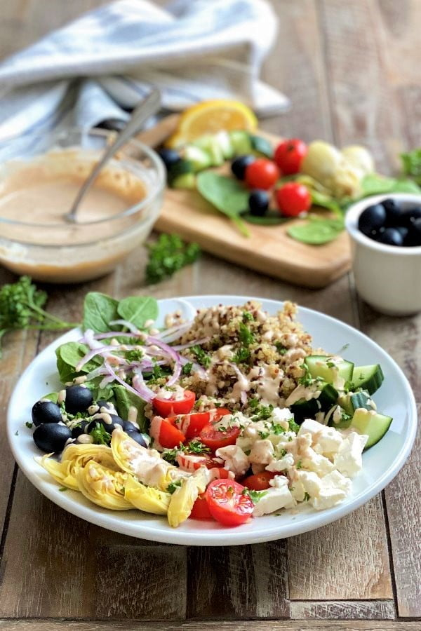 Mediterranean quinoa bowls with vegetables