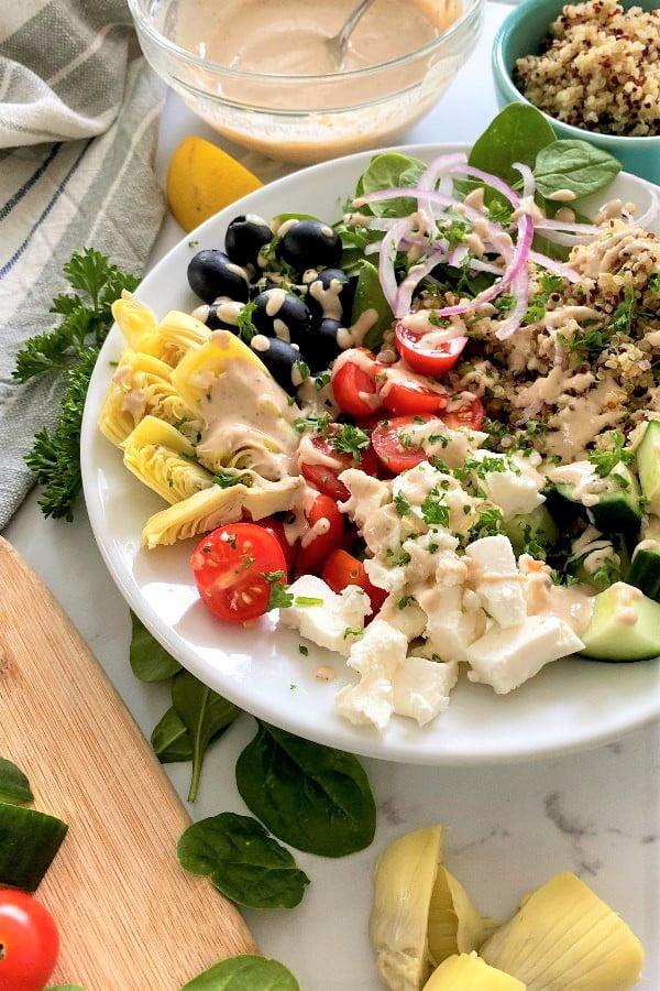 Mediterranean vegetables and feta