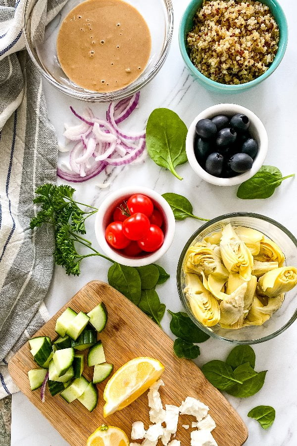 ingredients for Greek inspired vegetarian lunch or dinner
