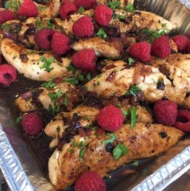 Raspberry Balsamic Glazed Chicken with Toasted Almonds