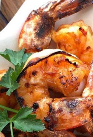 plate with Korean bbq shrimp