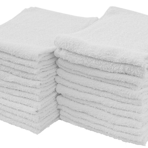 24pk White Cotton Terry Cleaning Towels