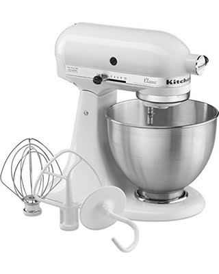 KitchenAid standing mixer white with 3 attachments