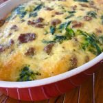 breakfast casserole with sausage, spinach and cheddar cheese
