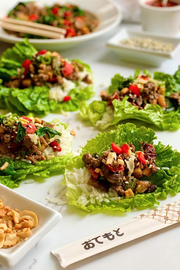cashew beef and rice lettuce wraps