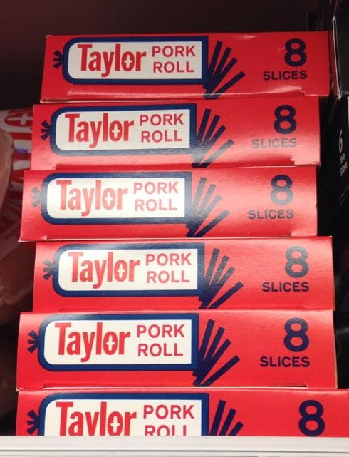 boxes of pork roll on grocery store shelf