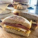 pork roll egg and cheese sandwich cut in half
