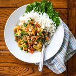bowl of Thai curry chicken with jasmine rice