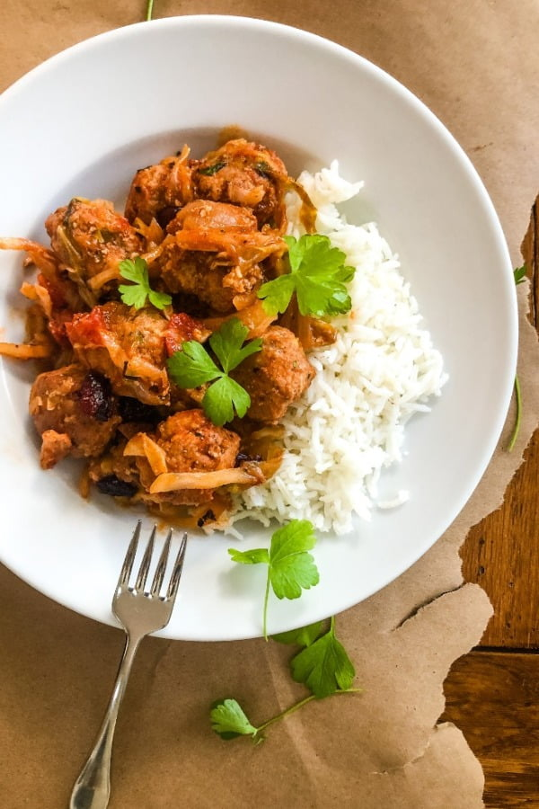 serving of cabbage roll meatballs with rice