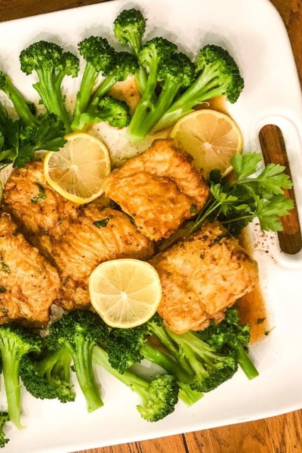 large platter of lemon cod fish
