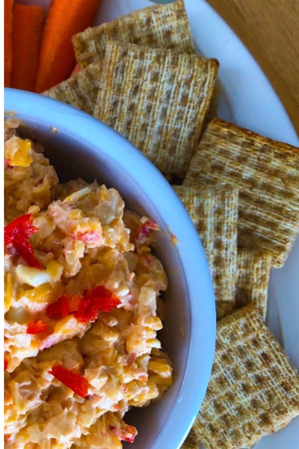 triscuits and dip with cheese