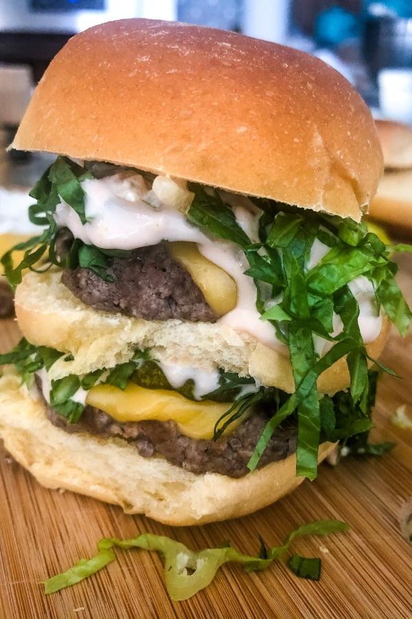 a delicious triple decker mini burger
