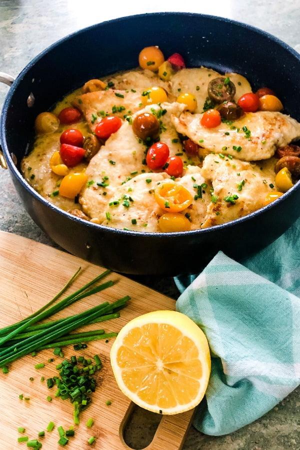 saute pan of chicken with pomodoro sauce