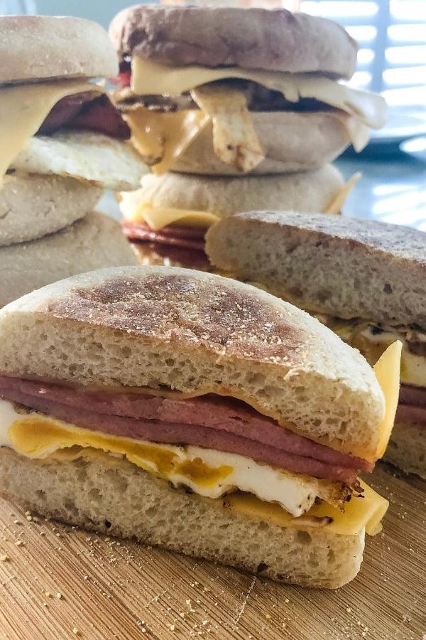 pork roll, egg and cheese breakfast sandwich cut in half