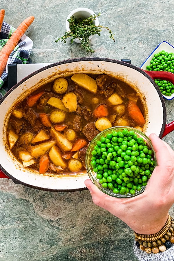 pot of stew with lamb and Guinness
