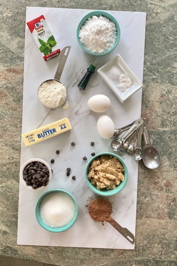 ingredients for making chocolate mint brownies