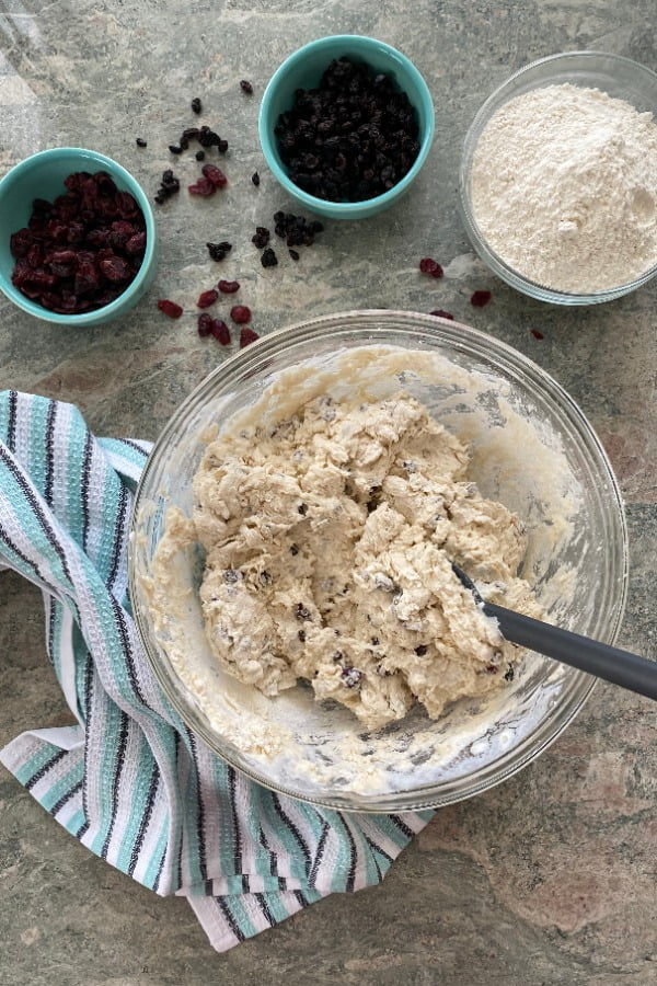 bread dough with dried cranberries, currants and buttermilk