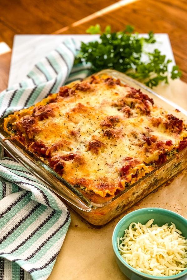 a baked lasagna