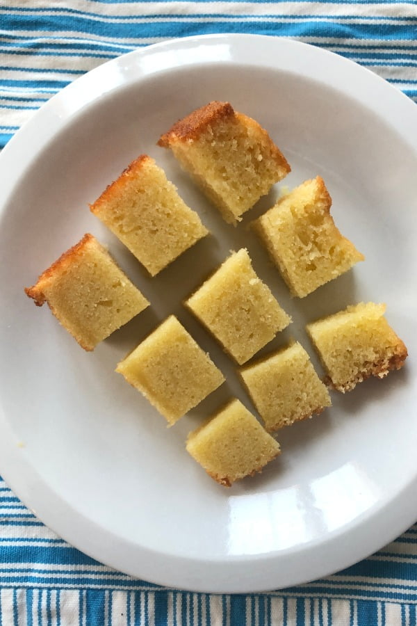 slice of sour cream pound cake cut in 9 pieces
