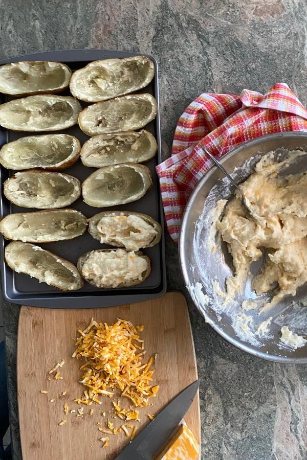 filling potatoes