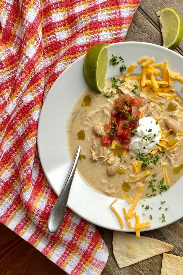 bowl of chicken enchilada soup made in an Instant Pot