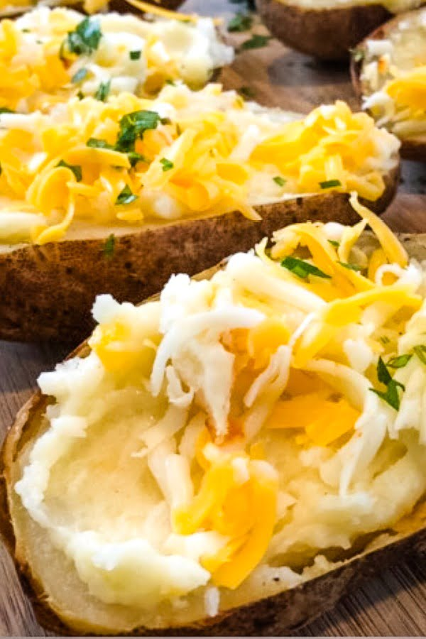 baked potatoes stuffed with cheddar cheese