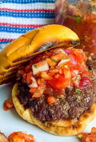 burgers on a bun with tomato relish