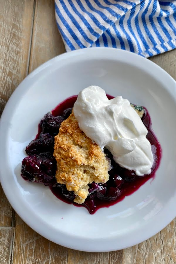 blueberry cobbler topped with homemade whipped cream