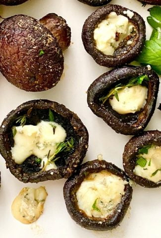 baked mushrooms filled with blue cheese