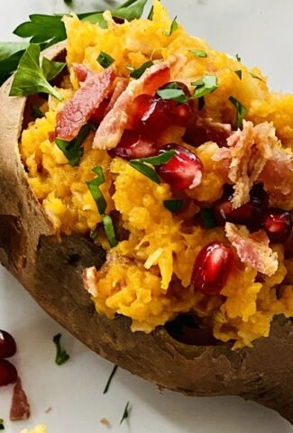 stuffed sweet potatoes with apples and bacon