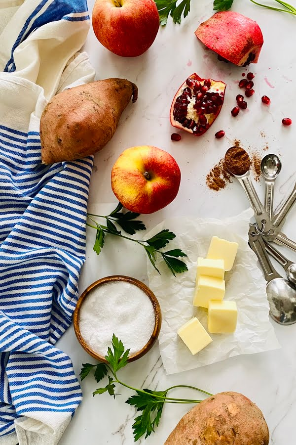 the ingredients for apple and bacon side dish for Thanksgiving