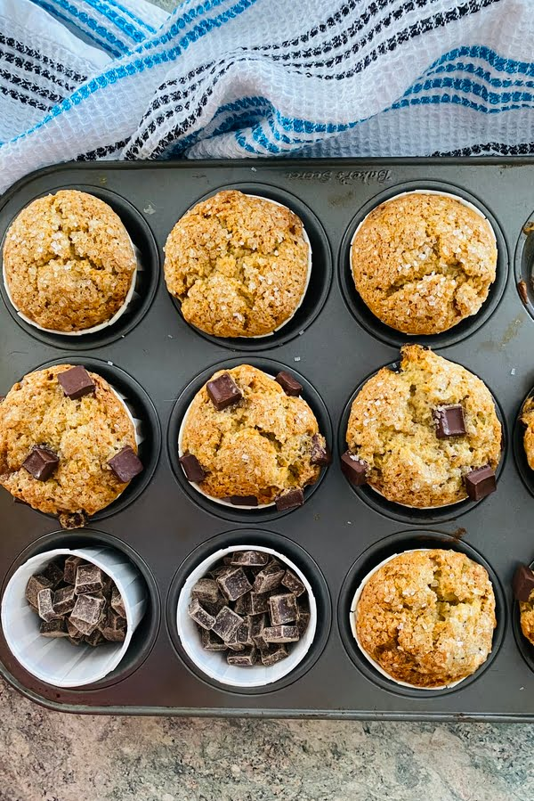 super moist banana bread muffins with large dark chocolate chunks