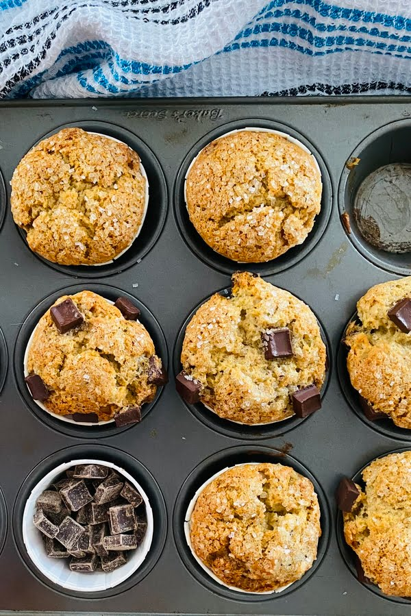 banana bread muffins in a muffin pan
