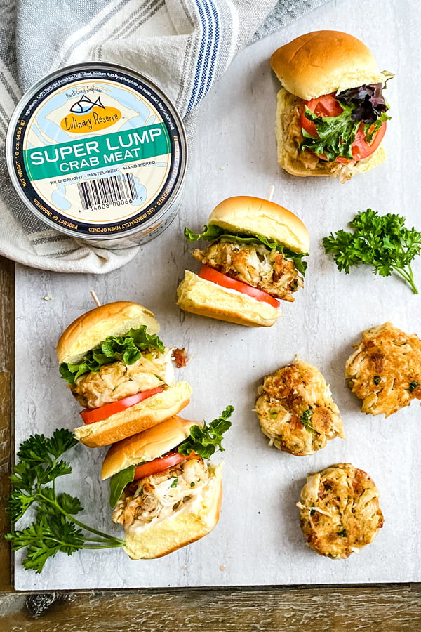 mini crab cake sandwiches, crab cakes and a can of super lump crab